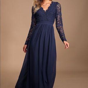 Navy blue long sleeve lace dress
